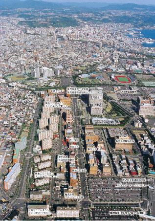 県庁周辺の上空写真